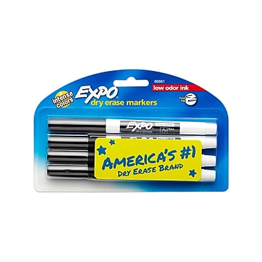 Expo® Low Odor Dry-Erase Markers, Fine Point, Black, 4/Pack (86661)
