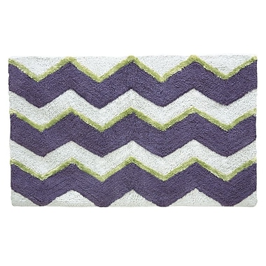 Jessica Simpson Home Zig Bath Rug; Dusk Purple Celery Green