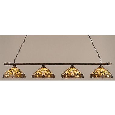 Toltec Lighting 4-Light Round Kitchen Island Pendant; Antique Brass