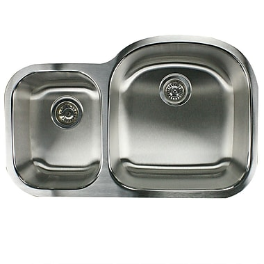 Nantucket Sinks Sconset 32.5'' x 20.69'' Double Bowl Undermount Kitchen Sink