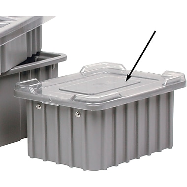 Lewis Bins+ Divider Box® Container Accessories, Clear Lids, Grey And Blue Covers Available, 6/Pack