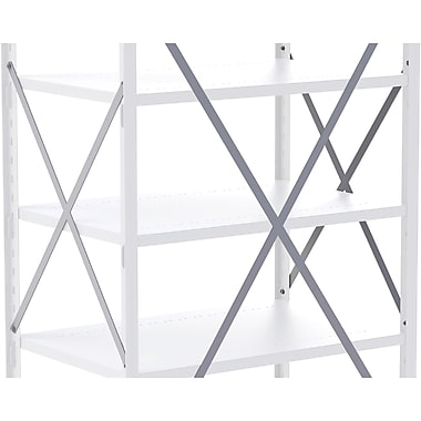 Metalware Boltless Shelving Unit, Side Braces, Grey