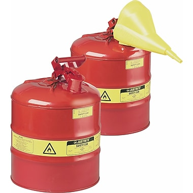 Justrite® Type I Safety Cans without Funnel, 1 Pint, 4 5/8