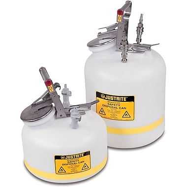 Justrite® Quick-Disconnect Safety Disposal Cans, 5 Gal,