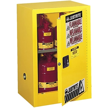 Justrite® Countertop and Compac Sure-Grip® Ex Safety Cabinets, 1 Door, Self-Closing, Compac, 12 Gal, 23 1/4