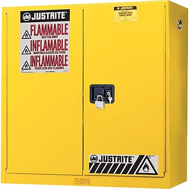 Justrite® Wall Mount Sure-Grip® Ex Safety Cabinets, 2 Doors, Manual, Wall Mount, 20 Gal, H