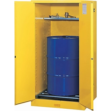 Justrite® Sure-Grip® EX Vertical Drum Storage Cabinets, 2 Doors,Manual with drum rollers, 34