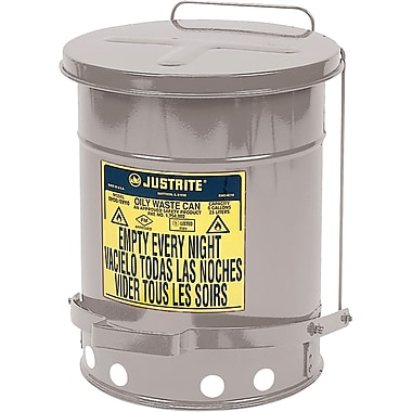 Justrite® Oily Waste Cans, 10 Gal, 13 15/16