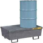 JustriteMD – Palettes de contrôle des déversements en acier, 2 barils, 31 1/2 x 16 5/16 (po), galvanisées