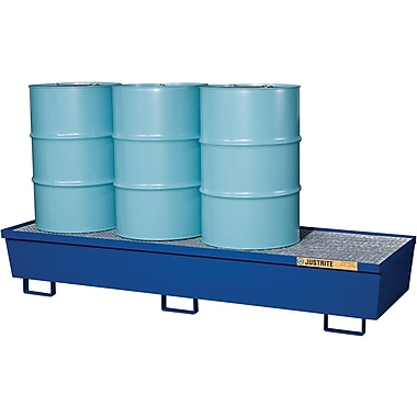 JustriteMD – Palettes de contrôle des déversements en acier, pour 4 barils alignés, 31 1/2 x 13 1/16 (po), bleues