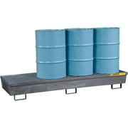 "Justrite® Steel Spill Containment Pallets, 4-Drum In Line, 31 1/2"" x 13 1/16"", Galvanised"