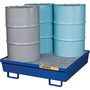 "Justrite® Steel Spill Containment Pallets, 4-Drum Square, 47 1/4"" x 13 1/16"", Blue"