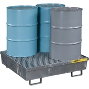"Justrite® Steel Spill Containment Pallets, 4-Drum Square, 47 1/4"" x 13 1/16"", Galvanised"