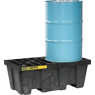 Justrite® EcoPolyBlend™ Spill Control Pallets Without Drain, 2-Drum, In-Line, 49