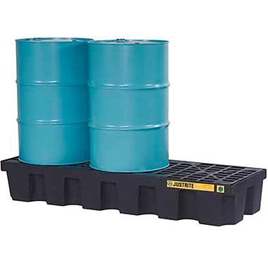 Justrite® EcoPolyBlend™ Spill Control Pallets with Drain, 3-Drum, In-Line, 73