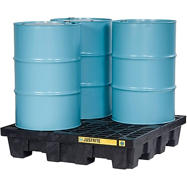 Justrite® EcoPolyBlend™ Spill Control Pallets with Drain, 4-Drum, Square, 49