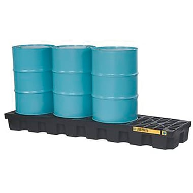 Justrite® EcoPolyBlend™ Spill Control Pallets with Drain, 4-Drum, In-Line, H