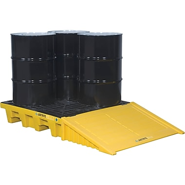 Justrite® EcoPolyBlend™ Spill Control Pallets Without Drain, 4-Drum, Square, 49