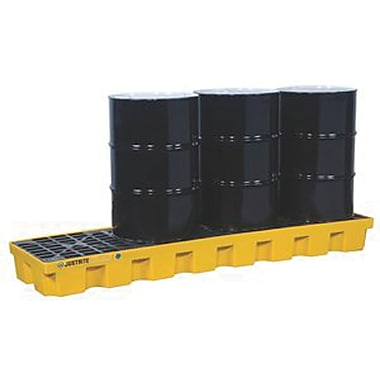 Justrite® EcoPolyBlend™ Spill Control Pallets Without Drain, 4-Drum, In-Line, H