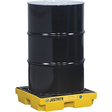 JustriteMD – Plateformes de rétention EcoPolyBlendMC, unité de 1 baril, 25 x 25 x 5 1/2 (po), jaune