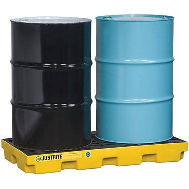 JustriteMD – Plateformes de rétention EcoPolyBlendMC, unité de 2 barils, 5 1/2 x 49 x 25 (po), jaune