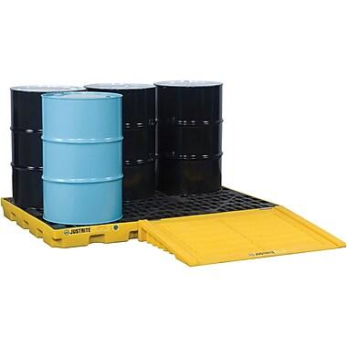 JustriteMD – Plateformes de rétention EcoPolyBlendMC, unité de 6 barils, 5 1/2 x 73 x 49 (po), jaune