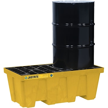 Justrite® EcoPolyBlend™ Spill Control Pallets with Drain, 2-Drum, In-Line, 49