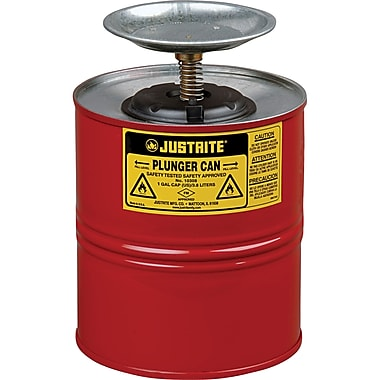 Justrite® Plunger Cans, 1 Gal, 7 1/4