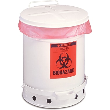 Justrite® Biohazard Waste Containers, 6 Gal, 11 7/8