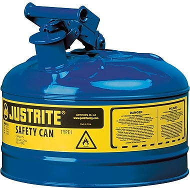 Justrite® Type I Safety Cans without Funnel, 1 Gal, 9 1/2