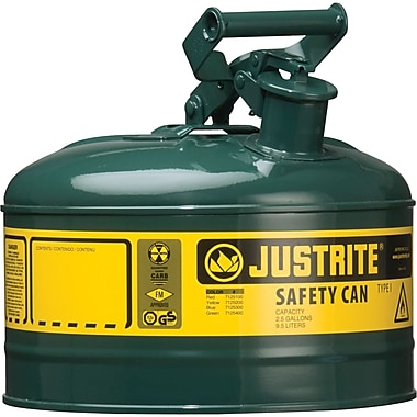 Justrite® Type I Safety Cans without Funnel, 2.5 Gal, 11 3/4