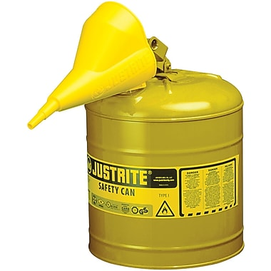 Justrite® Type I Safety Cans with Funnel, 5 Gal., 11 3/4