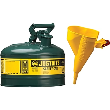 Justrite® Type I Safety Cans with Funnel, 1 Gal, 9 1/2
