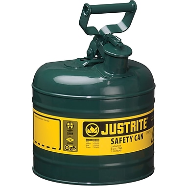 Justrite® Type I Safety Cans without Funnel, 2 Gal, Green
