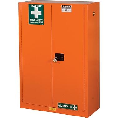JustriteMD – Armoire de rangement pour préparation aux situations d'urgence, 43 x 18 x 63 po, 315 lb, orange