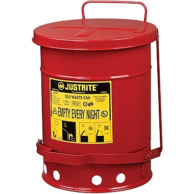 Justrite® Oily Waste Cans, 6 Gal, 11 7/8