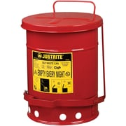 "Justrite® Oily Waste Cans, 6 Gal, 11 7/8"" x 15 7/8"", Red"