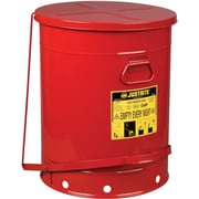"Justrite® Oily Waste Cans, 21 Gal, 8 3/8"" x 23 7/16"", Red"