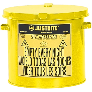 Justrite® Oily Waste Cans, 2 Gal, 9 5/8