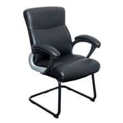 CorLiving WHL-108-C Leatherette Office Guest Chair, Black