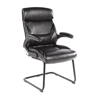 CorLiving WHL-200-C Leatherette Office Guest Chair, Black
