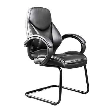 CorLiving WHL-400-C Bonded Leather Office Guest Chair, Black