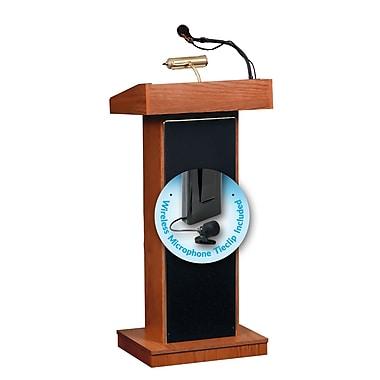 Oklahoma Sound Orator Sound Lectern with Wireless Tie Clip/Lavalier Microphone, Cherry (800X-CH/LWM-6)