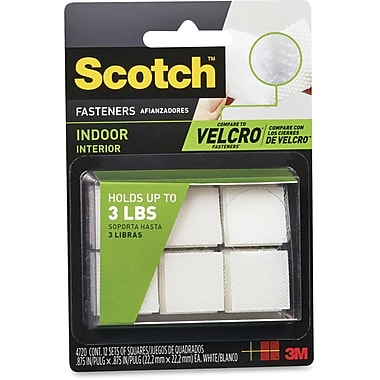 3M Scotch Indoor Hook/Loop Fastener, 12/Pack