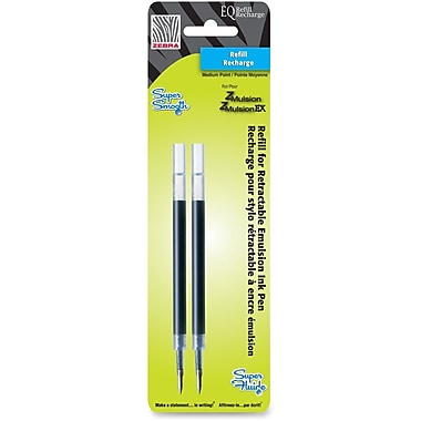 Zebra Emulsion Ink Pen Refills, 1mm, Black, 2/Pack