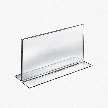 Azar Acrylic 2-Sided Double-Foot Horizontal Sign Holder, 5.5 x 8.5, 10/Pack (152734)