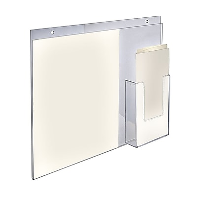 Azar Displays Acrylic Wall Mount Sign Holder with Brochure Holder, 14