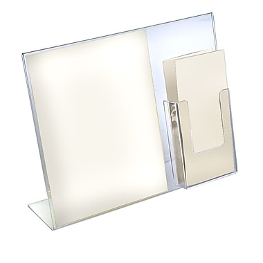 Azar Displays Sign Holder with Attached Brochure Holder, 11