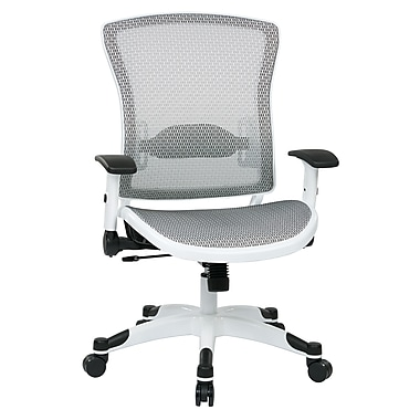 Space Seating Pulsar Mesh Computer and Desk Office Chair, Fixed Arms, White (317W-W11C1F2W)