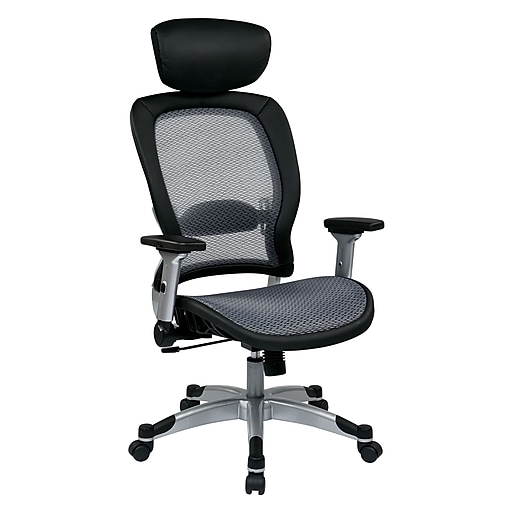 Space Seating Professional Light AirGrid Seat and Back Chair with Headrest, Black